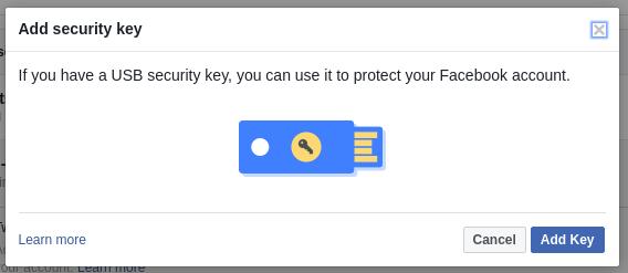 หน้าจอลงทะเบียนกุญแจ U2F ของกูเกิล