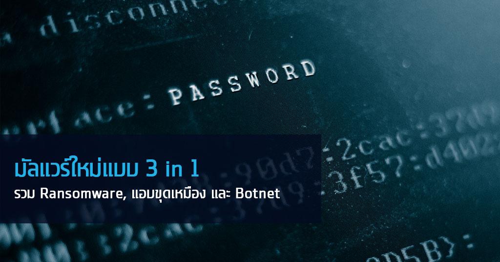 มัลแวร์ใหม่แบบ 3 in 1 ที่รวม Ransomware, แอบขุดเหมือง และ Botnet