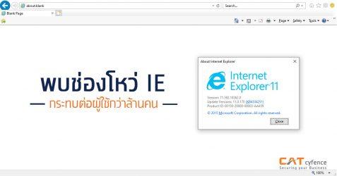 พบช่องโหว่ Internet Explorer กระทบต่อผู้ใช้กว่าล้านคน