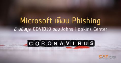 Microsoft เตือน Phishing อ้างข้อมูล COVID19 ของ Johns Hopkins Center