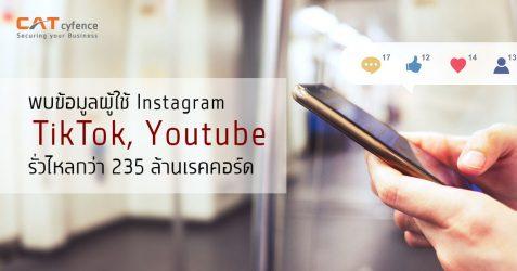 พบข้อมูลผู้ใช้ Instagram, TikTok, YouTube รั่วไหล 235 ล้านเรคคอร์ด