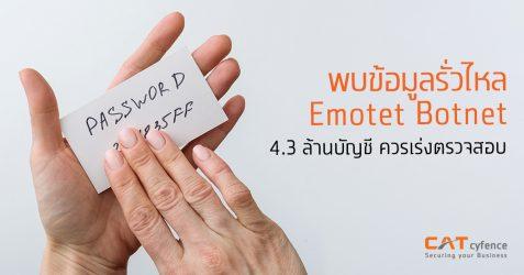 พบข้อมูลรั่วไหลจาก Emotet Botnet  4.3 ล้านบัญชี  ควรเร่งตรวจสอบ
